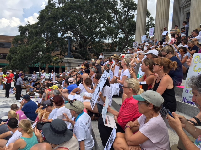 Crowd gathered on the steps of the Customs House in Charleston to protest unjust immigration policy.
