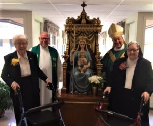 Picture of Sister Mary Thomas Neal, Fr. Anthony Droze, Sister Carmelita Boyd, Bishop Robert Guiglielmone Jubilee Celebration 2018