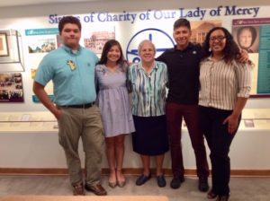 Sister Carol with students who attended the Our Lady of Mercy Community Outreach Yes I Can program when they were in elementary school. Left to Right: Augustin Carapia, Kimberly Tovar, Jesus Hernandaz and Esmeralda Sanchez will be graduating high school his month.  All will be attending college in the Fall.